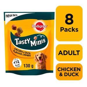 8 x 130g Pedigree Tasty Bites Minis Dog Treats Chewy Cubes Chicken & Duck