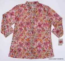 New Breckenridge Womens S Small Mandarin Collar Button Down Shirt Lightweight