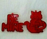 Set of 2 Amscan Vintage Red Plastic Cookie Cutters- Cat with Heart Be Mine