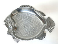 "Pewter Metalware Fish Shaped Nautical Beach Serving Dish13.5"" x 10.75"""