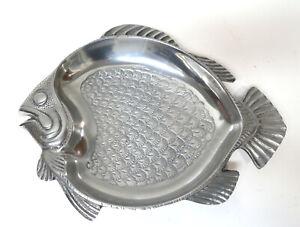 "Pewter Metalware Fish Shaped Nautical Beach Serving Dish13.5"" x 10.75"""