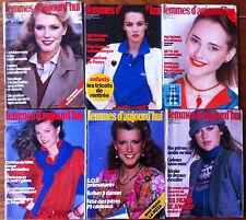 A76) lot de 6 Femmes d'Aujourd'hui 1979; Modes, Beauté, Cuisine, Maison, Lecture