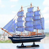 Wood Sailboat Handmade Carved Model Pirate Ship Home Nautical Decoratives #2