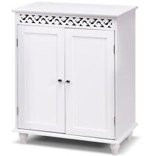 White Wooden Bathroom Floor Cabinet Storage Cupboard 2 Shelves Free Standing