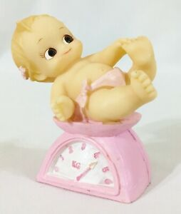 Vintage Girl Baby on Scale Pink Cake Topper for Baby Shower Decoration Santini