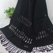 Winter Womens Mans Solid Cashmere Wool Soft Warm Wrap Shawl Scarf 16204 Black