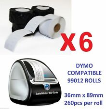 6 x LABELS FOR DYMO LABELWRITER (DYMO CODE 99012) 36mm x 89mm 450