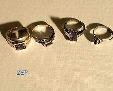 LOT OF 4  VTG STERLING SILVER AMETHYST RINGS ALL STAMPED! LOOK!