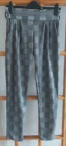 Tartan High Waist Trouser Elastic Waist Pockets Size 10 Femme Luxe Stretch (C)
