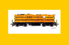 """Maine Central GP7 11""""x17"""" Matted Print Andy Fletcher signed"""