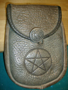 RARE Oberon Design Leather Belt Pouch  STAR OF DAVID,  Bufflo Leather 1990s