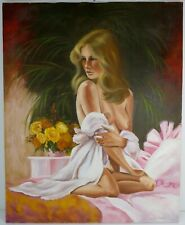 Vintage 1962 ORIGINAL OIL CANVAS FEMALE NUDE OIL PAINTING ART BY Anna Schmidt