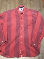 Vintage Tommy Hilfiger Button Up Shirt Extra Large Red Long Sleeve