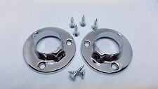 WARDROBE RAIL END SOCKET pair of round supports brackets chrome 25mm