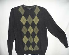 GARRET SCOTT Dark Gray & Green V-Neck 100% Merino Wool Pull Over Sweater Size L