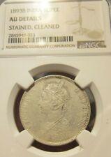 1893 B India Victoria 1 Rupee Silver NGC AU Details UNC