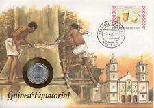 superbe enveloppe GUINEE GUINEA EQUATORIALE monnaie 1 FR 1974 UNC NEW timbre