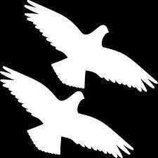 2 Aufkleber 25cm weiß Vogel Warnvogel Tattoo Fenster Scheibe Schutz Deko Folie