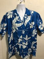 Made In Hawaii Men's Hawaiian Shirt XL Blue Hibiscus Floral