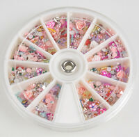 1200pcs Mixed Glitters Rhinestones Slice Nail Art Tips Decoration Manicure Wheel