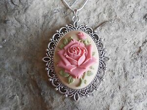 STUNNING PINK ROSE CAMEO NECKLACE!!! QUALITY!!! BEAUTIFUL DETAIL AND COLORS!!!