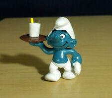 Smurfs Waiter Smurf Serving Tray Drink Garcon Figure Vintage Toy Figurine 20162