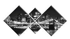 BLACK WHITE NEW YORK USA CANVAS WALL ART PICTURE DIAMOND STYLE 4 PANEL 148cm