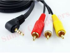 Angle 3.5mm AUX Male to 3 RCA AV Audio Video Male Cable TV Cord Gold Plated Plug
