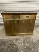 Mastercraft Brass and Burled Elm Dry Bar Server with Flip Top