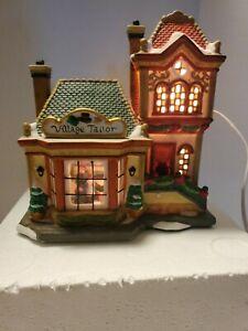 Carole Towne 2002 Village Tailor Shop Christmas Porcelain Lighted Building inbox