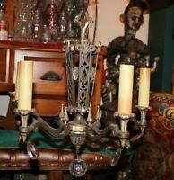 Antique Art Deco 5 Light Ceiling Chandelier Light Fixture Hanging Crystals Metal