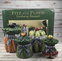 Fitz And Floyd Ceramic Canister Set Gardening Bowquet Vegetable Kitchen Country