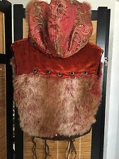 Women's FUR, Silk, Leather Hoodie Coat - Handmade for Playa @ Burning Man - NEW!