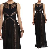 $498 NWT BCBG MAXAZRIA Avi Pleated Lace Gown Dress Black Size 6