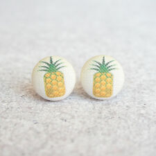 Pineapple Fabric Button Earrings