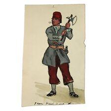 Old Antique Watercolour Portfolio Painting Smoking Sailor Axe Cutlass Musket