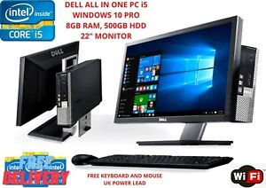 "Dell PC Computer All in One Core i5 22"" Monitor 8GB Ram 500GB HDD windows10 WiFi"