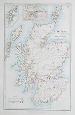 1881 LA SCOZIA Mappa per illustrare la condizione politica del Paese