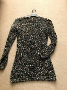 Ladies Long QED London Thick  Shaggy Look Winter Jumper Multi Size M 10/12