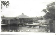 RPPC of Boat Houses on Big Lake – Bigelow Missouri ~ Keenan Piano Sign 1920s