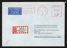 OPC 1975 Germany Stuttgart to USA Registered Francotyp Private Meter