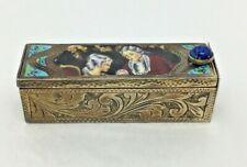 Vintage Italian 800 Silver Enamel Lipstick Case Compact Galletti Coppini Fallaci