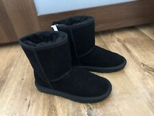 BNWT Girls Black Real Leather Boots Size 12 From NEXT
