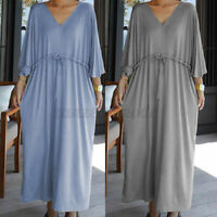 Size Women Summer V-Neck Maxi Dress Ladies Beach Casual Loose Holiday Dress 8-26