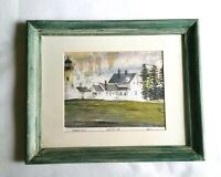 Pemaquid Lighthouse Muscungus Bay Landscape Nautical Wall Art, Paint Wash Frame
