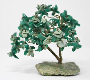 Vintage Malachite Gemstone Bonsai TREE Copper Wire Stones Mid Century MCM Desk