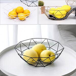 Iron Art Wire Fruit Bowl Basket Kitchen Dining Table Decoration Stand Storage