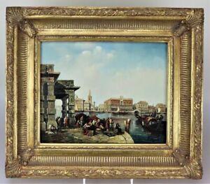 Ölgemälde Venedig - Blick zum Dogenpalast, Markusplatz, signiert
