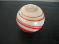 VINTAGE STICK SHIFT KNOB RED WHITE MARBLE GLASS