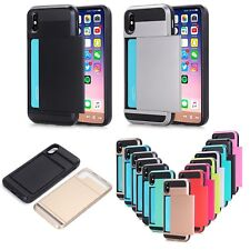 Hard Armor Case Cover Slide Card Slot Holder For iPhone X XR XS Max Plus 8 7 6
